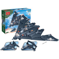 【当当自营】邦宝小颗粒积木益智创意玩具模型飞机三合一黑鹰隐形战机8477
