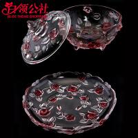 白领公社 果盘 欧式家用玫瑰水晶玻璃水果盘四件套现代个性创意家居圆形茶几瓜果盆