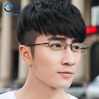 眼镜男超轻眼镜框男半框钛合金眼镜架平光眼睛框配成品镜