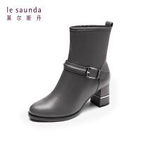 莱尔斯丹 秋冬专柜圆头粗高跟加绒加厚保暖中筒靴女靴73001V