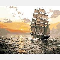 数字油画油彩画一帆风顺DIY填色大海帆船风景航海凯旋归来装饰画