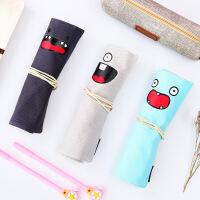 可爱卷卷笔袋帆布笔帘两用多功能创意学生个性铅笔袋文具袋