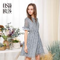 欧莎2017夏装新款女装 优雅系带圆领格纹显瘦连衣裙B13011