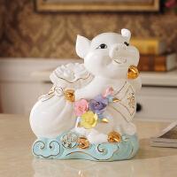 陶瓷小猪摆件家居饰品室内客厅酒柜装饰创意摆设乔迁新居礼品