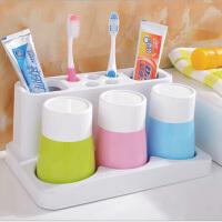 自动挤牙膏器 情侣家居牙刷挂架 三口之家洗漱套装 糖果色牙刷架
