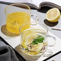 光一ins风网红简约水杯透明玻璃马克杯子茶杯家用带把手创意学生森系