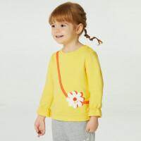 【2件4折价:67.6】安奈儿女童春季卫衣圆领长袖2021新款3岁宝宝上衣洋气幼儿套头衫