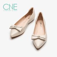 CNE2019春夏新款船鞋温柔鞋尖头平底蝴蝶结奶奶鞋女单鞋AM04803