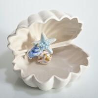 地中海陶瓷贝壳摆件海螺珊瑚客厅装饰品海洋首饰盒白色果盘工艺品