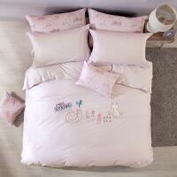 LOVO家纺 全棉纯棉儿童卡通可爱被套床单三四件套男孩女孩床上用品 午后浪漫