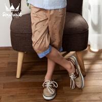 【12月9日开抢 3件3折价:65】水孩儿souhait男童斜纹布满印七分裤AKNXL351