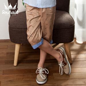 【3件3折:65.7元】水孩儿souhait男童斜纹布满印七分裤AKNXL351