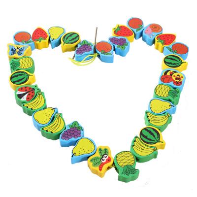 儿童木制智慧树穿线动手益智早教精细操作幼儿园玩具
