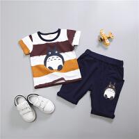男童短袖套装儿童女宝宝夏装2017新款1-2-3岁童装半袖短裤两件套 龙猫 土黄