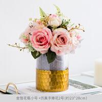 整体花艺客厅餐桌装饰摆设 玻璃花瓶配绣球玫瑰花束礼物饰品摆件