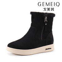 戈美其新款冬季中筒平底防滑雪地靴短筒厚底加绒保暖短靴女棉鞋子