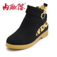 内联升女棉鞋女式羽绒短靴秋冬时尚休闲老北京布鞋 6844C