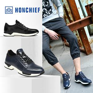 HONCHIEF 红蜻蜓旗下 男士运动休闲男鞋冬季新款真皮圆头系带鞋子