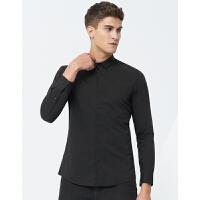 七匹狼长袖衬衫 新款纯色休闲长袖衬衫男士潮流男士衬衫长袖男 001(黑色) 180/96A/XXL