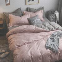 【官方旗舰店】ins被套纯色床单四件套1.51.8m少女心宿舍北欧三4件套1.2床上用品