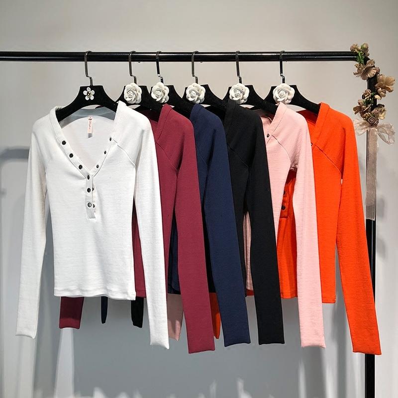女装早春欧美风ins时尚V领长袖螺纹弹力打底衫T恤上衣女 一般在付款后3-90天左右发货,具体发货时间请以与客服协商的时间为准
