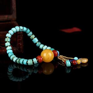 原矿高瓷绿松石算盘珠DIY手串 配蜜蜡圆珠 重量13.64g