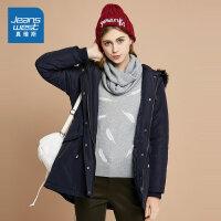 真维斯女装 冬装 中长时尚连帽外套
