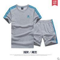 男士运动套装 中老年夏季薄款休闲短袖短裤运动服大码跑步