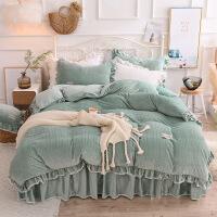 君别床上四件套珊瑚绒加厚冬季水晶绒床罩床裙公主风天鹅绒双面绒被套 熙绒 绿