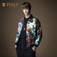 PINLI品立2019秋季新款男装立领印花拼接棉衣外套潮B193605138