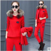 女三件套 大码三件套 修身三件套 新款韩版休闲套装女加绒加厚卫衣时尚运动三件套