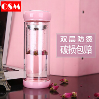 韩版玻璃杯双层便携水杯女学生可爱随手杯泡茶杯子家用