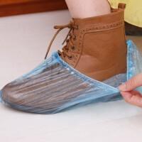 100只装一次性鞋套加厚室内防水家用防滑耐磨防尘机房学生透明塑料脚套膜