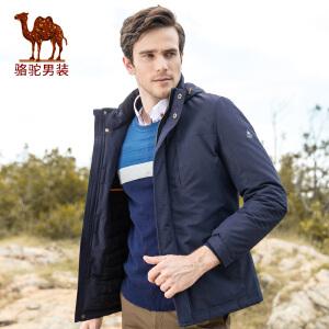 骆驼男装   冬季男士连帽英式学院风纯色棉衣棉服外套男