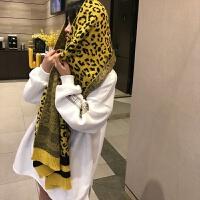 韩版毛线针织围巾女冬季豹纹时尚围巾披肩女学生保暖围脖