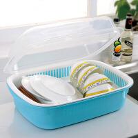 双庆 韩式带盖密封双层沥水碗碟架 大号碗柜厨房碗碟沥水置物架1061颜色随机