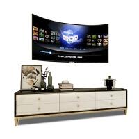 简约后现代客厅电视柜茶几组合地柜小户型轻奢黑白金色矮柜电视架 整装