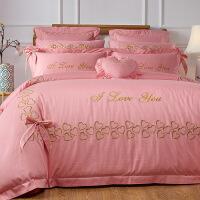【官方旗舰店】婚庆四件套新款60s全棉刺绣结婚六八套件公主风粉色新婚床上用品