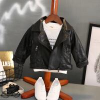 男童皮衣外套秋装新款儿童韩版皮夹克1-3岁婴儿宝宝pu皮春秋上衣 黑色 翻领皮衣外套