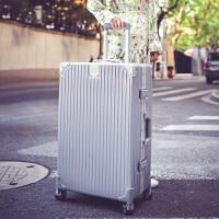 拉杆箱万向轮24寸铝框皮箱旅行箱女行李箱26寸包硬箱复古登机箱20 银色 防刮铝框箱豪华款 29寸【收藏送 透明箱套+