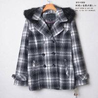 贝贝原单秋冬新款羊毛大衣女韩版格子连帽外套大码加厚上衣潮