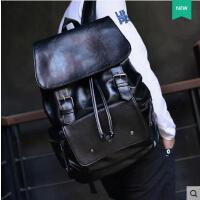 商务潮流翻盖抽带时尚背包学生书包 男士旅行包双肩包男韩版皮质