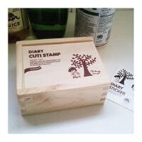 韩国文具 手工diy 木盒印章 卡通印章 童话树下的女孩 240g