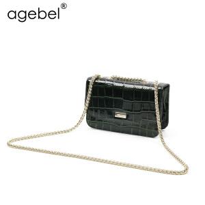艾吉贝鳄鱼纹牛皮女包2017新款潮单肩斜跨小方包女式链条小包包