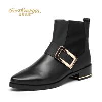 金粉世家 红蜻蜓旗下 秋冬新款短靴真皮切尔西靴欧美风短筒女靴