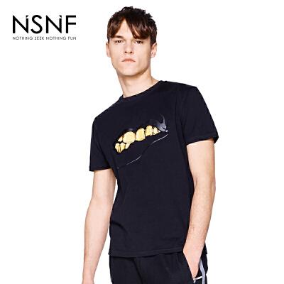 NSNF纯棉手绘黑金图案黑色圆领T恤男   短袖t恤男装2017新款 修身圆领针织短袖 当当自营 高品质设计师潮牌