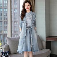 20181025210638527小香风时尚套装裙子2018早秋新款女装韩版牛仔连衣裙中长款三件套 牛仔蓝