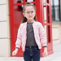 女童秋款外套3丫逗韩版4小女孩夹克衫5中大童6夹棉开衫棒球 粉红色