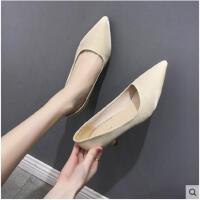 高跟鞋女百搭外穿凉鞋新款尖头中跟女鞋浅口细跟单鞋