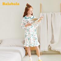 巴拉巴拉女童睡衣长袖春季儿童家居服棉中大童女孩宝宝家居裙甜美